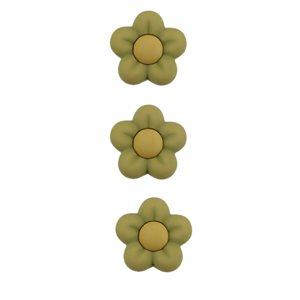 3 Boutons Fleur Verte