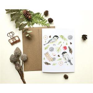 Carte de Souhait - Mésanges de Noël